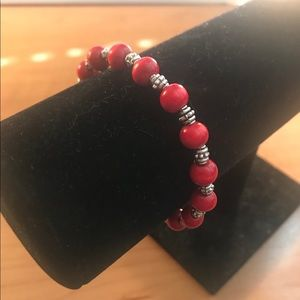 Jewelry - Red and silver beaded stretch bracelet